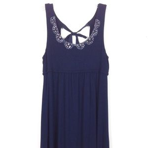 LOFT - Navy Blue dress, Beaded , Back Bow sz XS